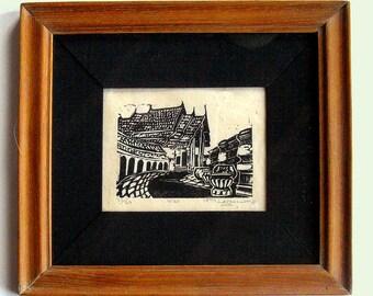 Wat, print in handmade Thai teak frame, black and white linoleum block