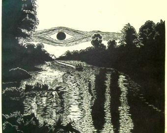 Canal by Moonlight limited edtion, hand printed, hand signed in pencil by the artist, Black and White linocut