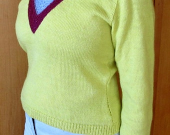 Yellow and Maroon Woman's Sweater, one of a kind, designed and knitted by Lagana, wool