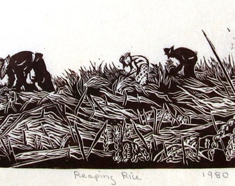 Reaping Rice, limited edition lino cut, hand printed, hand signed in pencil by the artist