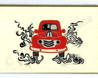 """3 Lagana Greeting cards, digitalized from Lagana's linoleum block prints, """"Happy Days,"""" plus 2 more of your choice"""