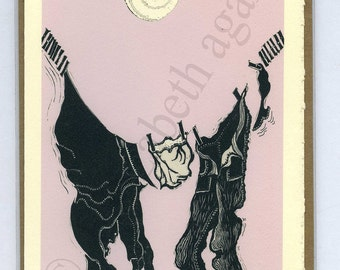 """3 Lagana Greeting cards, digitalized from Lagana's linoleum block prints, """"Sunny Day,"""" plus 2 more of your choice"""