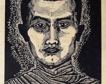 Thai Monk, Limited edition linoleum block print, hand printed by artist and signed in pencil
