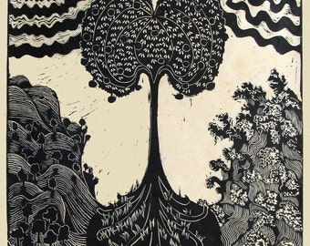 Apple Tree,  limited edition linoleum block, printed and signed in pencil by Lagana
