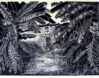 Paitoon In the Banana Orchard, hand printed, hand signed in pencil by the artist, Black & White linocut