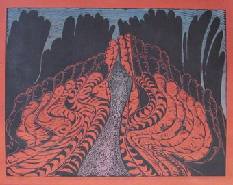 Land of the Midnight Sun,  limited edition silk screen and lino block, cut, printed and signed in pencil by the artist