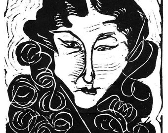 Janet II or Janet I,  your choice of two limited edition lino blocks,  cut, printed and signed in pencil by the artist
