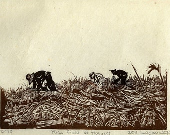 Rice Field at Harvest, limited edition lino cut, hand printed, hand signed in pencil by the artist