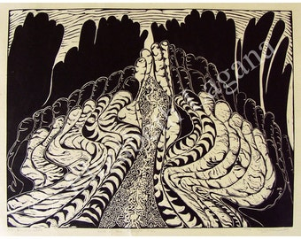 Land of the Midnight Sun, limited edition lino cut, hand printed, hand signed in pencil by artist
