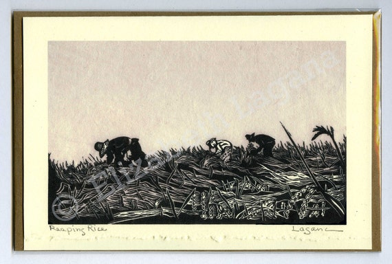 "3 Lagana Greeting cards, digitalized from Lagana's linoleum block prints, ""Reaping Rice"" plus 2 more of your choice."