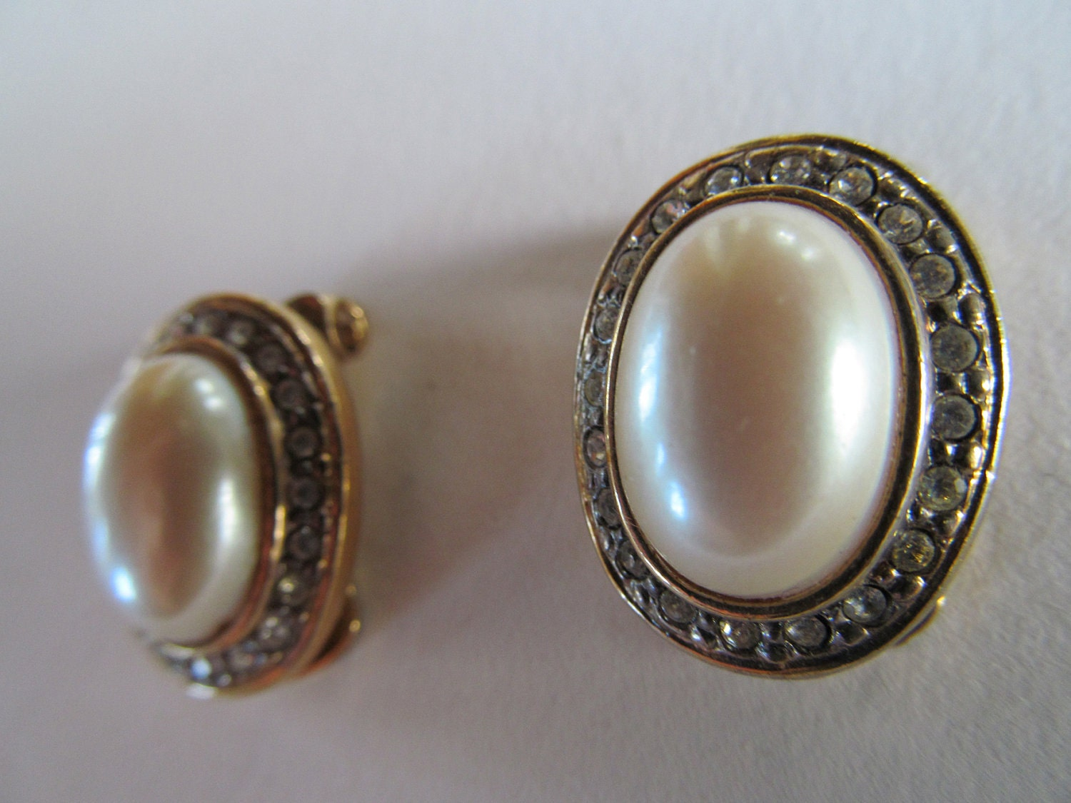 faux pearl and diamond earrings costume jewelry clip on. Black Bedroom Furniture Sets. Home Design Ideas