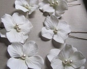 Wedding Jewelry for your hair  Soft White Hydrangea silk flower with Swarovski pearls or Crystals in the center