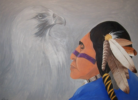 Oil Painting Original Art Bird Talker Native Tribal