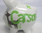 Personalized Piggy Bank- Willow Organic with Deers in the Meadow