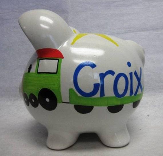 Personalized piggy bank choo choo train - Train piggy banks ...