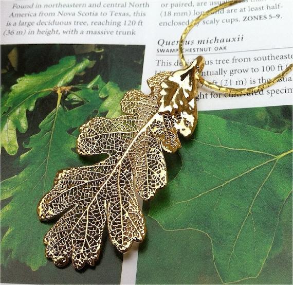 Oak Leaf Necklace, Real leaves, Golden oak, free cobra chain and box