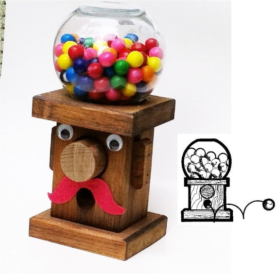 Items similar to Mr.Bubblehead Wooden Gumball Machine, Handcrafted Nostalgia on Etsy