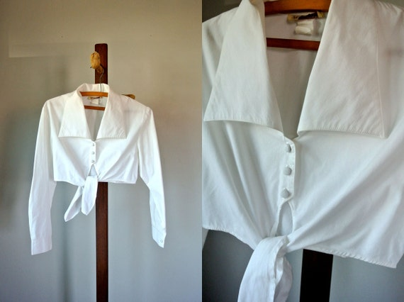 SALE Vintage 90's White Cropped Top Blouse S/M