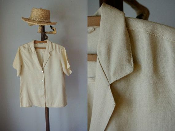 SALE Vintage 50's Linen Tan Blouse S/M