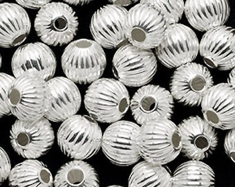 4 pcs - SOLID Sterling SILVER 8mm Round beads Large silver Corrugated beads - large hole beads - fluted ribbed textured