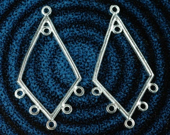 2pcs - Solid Sterling Silver CHANDELIER earring component 36mm, 6 loop, connector, diamond shape, boho