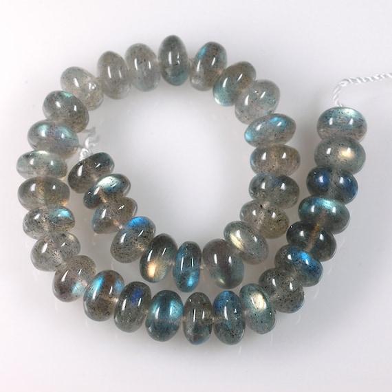 Flashy Madagascar LABRADORITE rondelle beads 9mm rondelles smooth -  8 inch strand