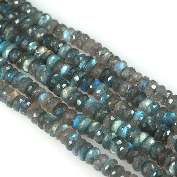 faceted LABRADORITE 7mm Faceted rondelle beads -  8 inch strand