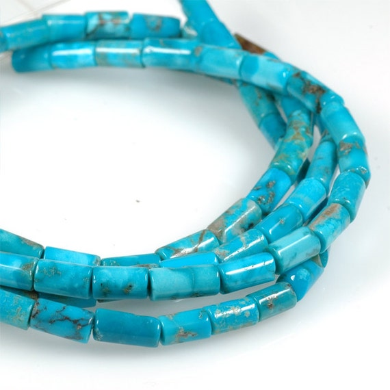 TURQUOISE Tube beads 5mm x 8mm vivid color turquoise cylinder beads - 8 inch strand