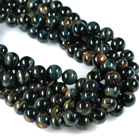 Natural BLUE TIGEREYE Multicolor gold red navy tiger eye 8mm - 8.5mm round beads - half strand
