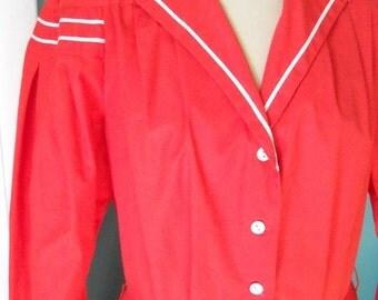 The Sailor Annie Coat Dress - 80's Nautical Coat Dress