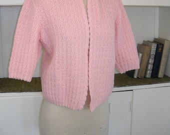 Janie at the Soda Fountain - 1940's Short Sleeved Sweet Pink Cardigan