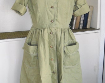 Starlight Mint - 1950's Green Cotton Pocketed Day Dress