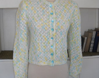 Holiday Sorbet - Lacy Crocheted Fitted Cardigan