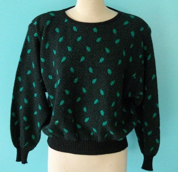 European Prep School - 1980's BENETTON Leaf Print Soft Sweater
