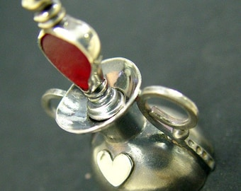 Sterling Silver Perfume Bottle with Red Sea Glass Dipper
