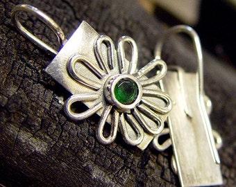 Green Topaz Daisy Earrings