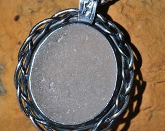 Braided Love White Sea Glass Pendant