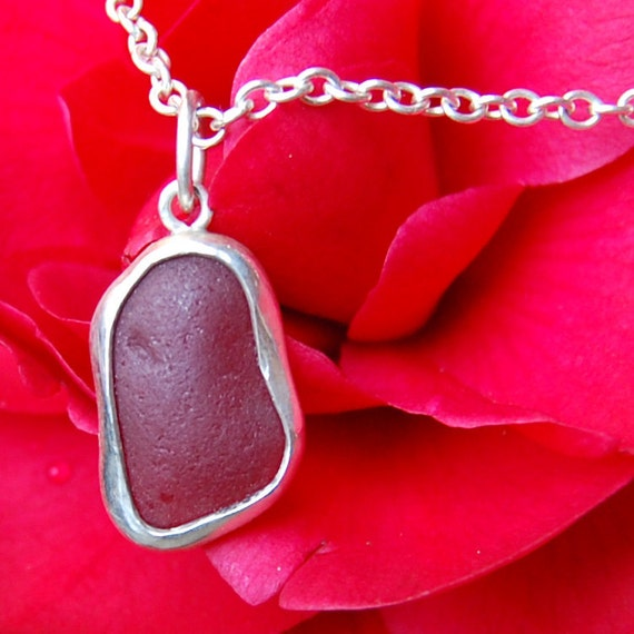 Red Darling Sterling Sea Glass Pendant