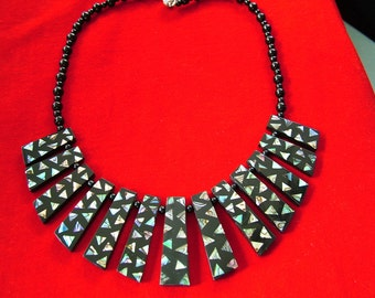 Paua Shell and Black Fan Necklace