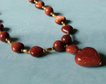 "Brown Goldstone ""you have my Heart"" Necklace"