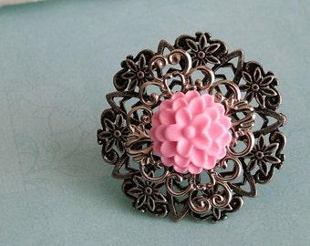 Pink Floral Filigree Ring