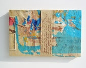 Sketchbook Stab Bound Recycled, Textured Turquoise Cover with Red, Brown, Blue and Ochre