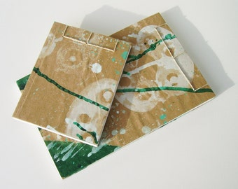 Sketchbook Gift Set, Green and White  - Recycled Materials - Painted Brown Paper Bag Cover - Stab Bound