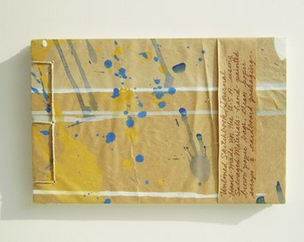 Multicolored Spatter Sketchbook - Recycled Materials - Painted Brown Paper Bag Cover - Stab Bound