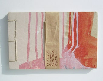 Sketchbook, Stab Bound, Recycled, Red and Pink Drips
