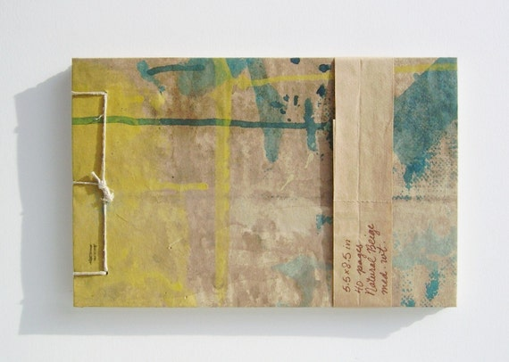 Aqua, Yellow and Brown Sketchbook - Recycled Materials - Painted Brown Paper Bag Cover - Stab Bound