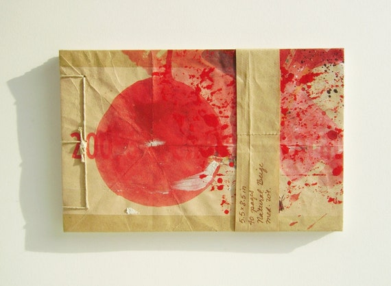 Red Sun Sketchbook - Recycled Materials - Painted Brown Paper Bag Cover - Stab Bound