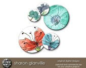 Floral 1 Inch Tile Circles for Glass Pendants, Clip Art, Cards, Scrapbooks, Gift Tags, Invitations, Jewelry (No. 212)