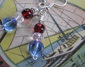 red, clear crystal, blue earrings, glass and silver