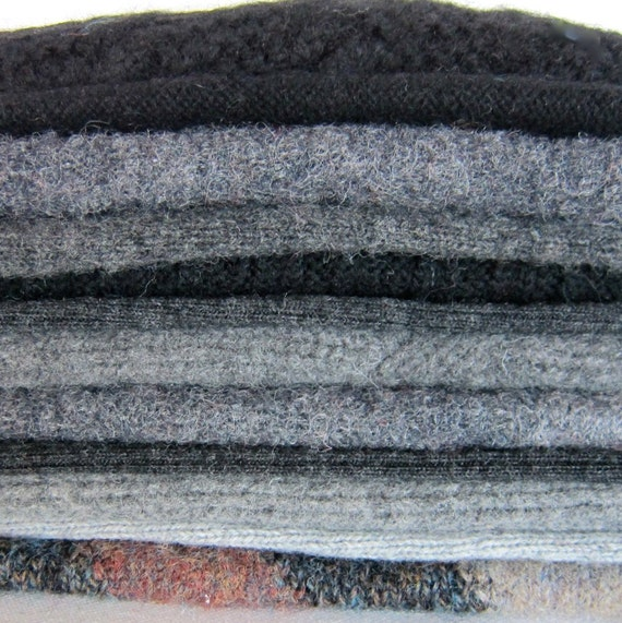 Felted Wool Sweater Pieces- Lambswool Merino Shetland Wool -Upcycled